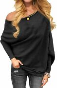 Omicgot Womenand039s Off The Shoulder Long Sleeve Pullover Knit Jumper Baggy Solid Sw