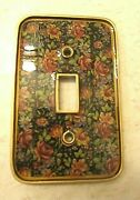 Vintage / Antique Floral Heavy Brass Gold Color Wall Switch Plate Cover