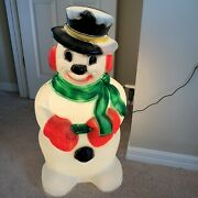 Vintage Frosty The Snowman Christmas Blowmold Top Hat Scarf 31 Inch Tested Works