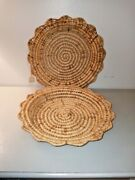 World Bazar Set Of 2 Woven Weaved Paper Plate Holders Woven Textile