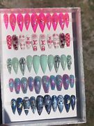 Press On Nail Lot Of 5 Sets Designer And Trendy Nail Art Glow In The Dark Size S,m