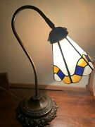 Leviton Antique Lamp Brass Stained Glass Japan
