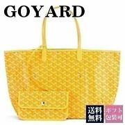 Goyard Saint Louis Pm Tote Bag With Pouch Canvas Leather Yellow