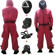 Squid Game Villain Red Jumpsuit Cosplay Costume Halloween Party Round Six Mask