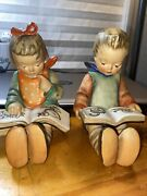 Mj.hummel-goebel Boy And Girl Figurine 5.5 Tall Book Ends Perfect Condition