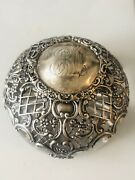 Antique 1830 English London Sterling Silver William Chawner Extra Thik Glass Jar