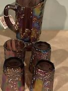 Rare Fenton / Amethyst Carnival Glass / Pitcher And Tumblers / Heritage Collection