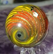 🦄1.50 Beautiful Tight Gold Lutz Corkscrew - New Contemporary Art Glass Marbles