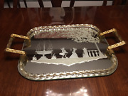 Huge Murano Glass Twisted Rope Etched Silhouette Mirror Tray - Mint
