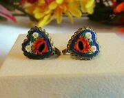 Antique Vintage Micromosaic Glass Flowers Heart Brass Screw Back Earrings Italy
