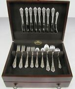 Rose Point By Wallace Sterling Silver Flatware Set For 8 Service 36 Piece W/case