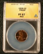 1939 Proof Lincoln Wheat Cent Penny 1c - Anacs Pf 67 Red Retail Value 1,180
