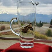 Ned Smith Upland Game Bird Glass Pitcher W Floating Handle Grouse And Dove