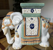 Vtg Large Ceramic Elephant Plant Stand Side Table Garden Stool -21andrdquox17andrdquox11andrdquoeuc