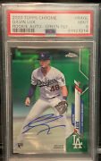 2020 Topps Chrome Gavin Lux Green Refractor Rookie Auto 47/99 Psa/dna 9/10