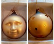 Dept 56 Frosted Mercury Glass Gold Moon Face Ornament Christmas Celestial 9074-3