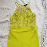 Xoxo Lime Green Neon Yellow Fitted Dress Sheath Bodycon Party Lace Sz 9/10 Large