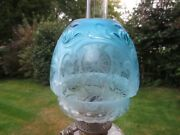 Antique Victorian Embossed And Acid Etched Beehive Rare Blue Duplex Oil Lamp Shade