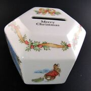 Wedgwood Merry Christmas Peter Rabbit Porcelain Coin Bank Made In England E14