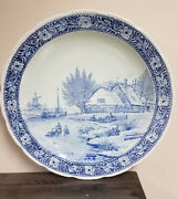 Vtg Boch Royal Sphinx Holland Delfts House With Boat Scene Blue Charger 16andrdquo Nice