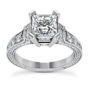 Iced Out 1.95 Carat Vs1/h Princess Cut Diamond Engagement Ring 14k White Gold