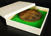 Medal Greeting Year + Holder And Box 1977 Calendar 3 3/4in Owls Rooster Owl Medal