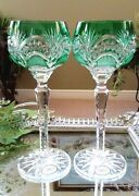 Set Of 2 Ajka Peep Cleanthe Green Cut Clear Crystal Wine Goblets W/labels