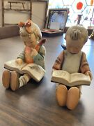 Lot Of 2 Vintage Hummel Bookends Book Worm 14a And 14b Western Germany Mark
