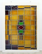 Mid Century Modern Frank Lloyd Wright Design Stained Glass Wall Art Sculpture