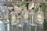 Lot Of 6 Cork-top Medicine Apothecary Extract Bottles Vtg 1920 - 1930s New Corks