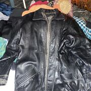 Vintage Tirage By Cougar Black Leather Car Coat Size 2xl Button Front Collar