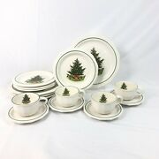 16 Piece Set Pfaltzgraff Heritage White Christmas Dinner Bread Plate Bowl Cup