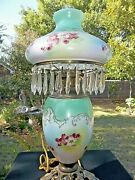 Antique Parlor Gone With The Wind Handpainted Lamp With Prisms Vintage