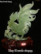 16 Top Natural Green Jade Flower Zodiac Year Rooster Cock Chick Chicken Statue