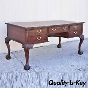 Reproduction English Chippendale Style Mahogany Ball Claw Executive Writing Desk