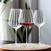 Europe Transparent Ripple Crystal Glass Goblet Champagne Red Wine Glass
