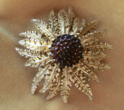 Sarah Coventry 1960s Brooch Pin Calendula Marigold Gold Tone Red Glass Centre