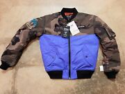 Avirex Menand039s Bomber Jacket - Desert Camo And Blue - Size Small Nwt - Seabeeand039s