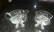 Vintage Frosted And Cut Glass Footed Pitcher And Bowl
