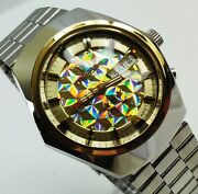 Tressa Lux Crystal Automatic Watch Swiss 1970s Vintage Nos Cal As 5206-1 Retro