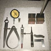 Starrett Machinists Tool Lot Indicator Magnetic Stands Calipers Dividers