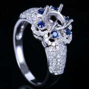 Solid 14k White Gold Wedding Fine Ring Semi Mount Round 6mm Diamonds And Sapphires