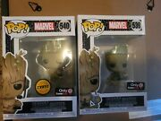 🔥in Hand Andndash Funko Pop 539 And 540 Gamer Groot Common + Chase Rare Gamestop Excl