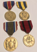 Lot Of 4 Vintage Us Army Medals Indian Wars War W/ Spain Cuban And Puerto Rico