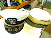 U S Navy Officers Hat- Combination Commander / Captain Bullion Eagle And Anchor