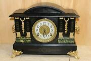Antique Ingraham 8 Day Mantle Clock Serviced And Running Early 1900's