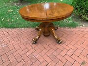 Antique Oak Round Ball And Claw Foot Table W/2 Leaves Royal Furniture Co C. 1910