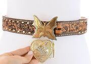 Wright Womens Sz 28 Western Hand Tooled Leather Belt Linda German Silver Buckles