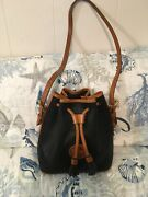 Dooney And Bourke Vintage Awl Bucket Bag Purse In Navy And British Tan Leather