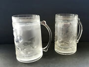 Double Wall Sports Design Frosty Freezer Beer Acrylic Mugs 6 H Vintage